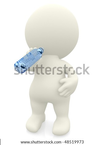 3D man drinking water isolated over a white background