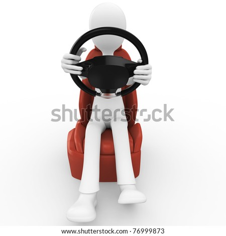 3d man driving lessons isolated on white