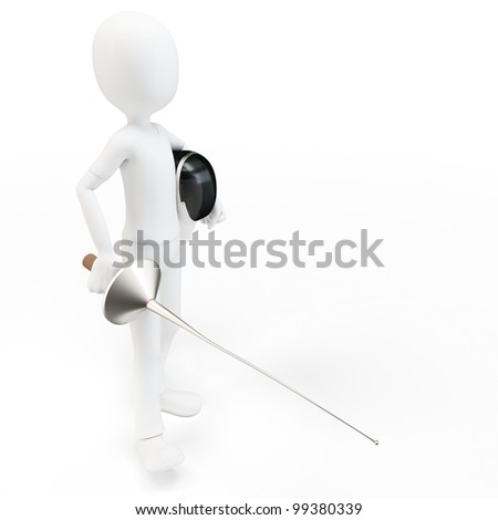 3d man fencer with mask and sword on white background