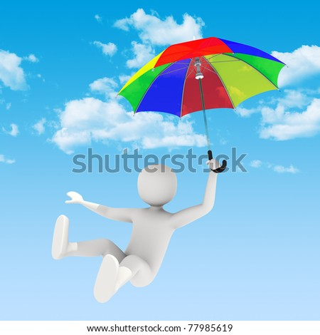 3d man flying in the sky with colorful open umbrella