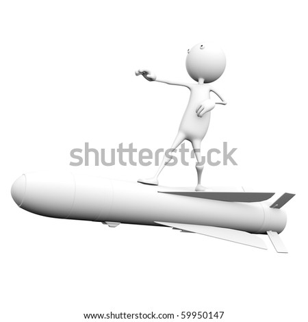 3d man flying on a rocket