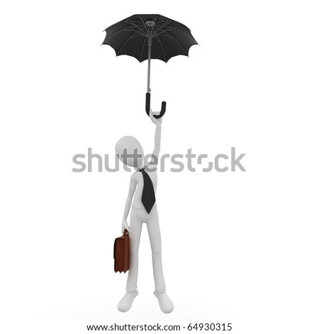 3d man freefall with umbrella isolated on white