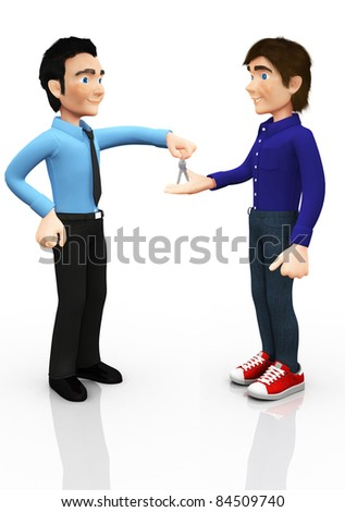 3D man giving the car keys to his son ? isolated over white - stock photo