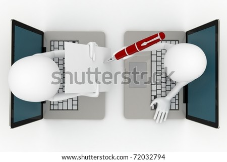 3d man global  business  signing paper over the internet  isolated on white