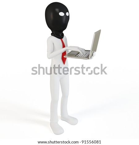 3d man hacker with laptop on white background