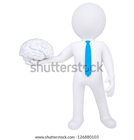3d man holding a brain. Isolated render on a white background