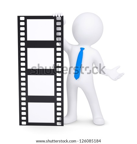 3d man holding a film. Isolated render on a white background