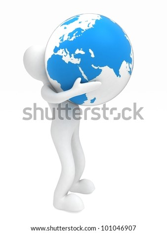3D man holding a globe of the Earth