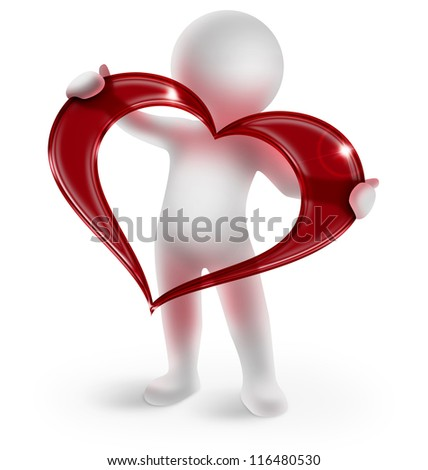 3d man holding a glossy red heart on white background