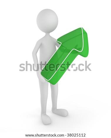 3D man holding a green up arrow; great concept depicting economy raise, business success, etc.