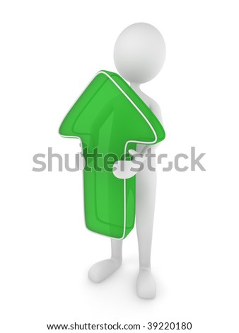 3D man holding a green up arrow; great concept depicting economy raise, business success, etc.