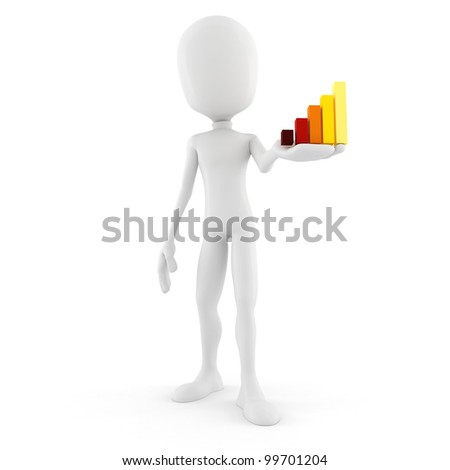 3d man holding a mini graph