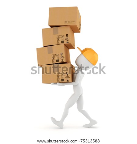 3d man holding a pile of cardboard boxes - stock photo