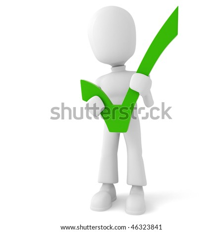 3d man holding a positive sign