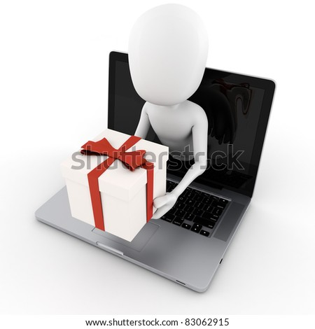 3d man holding a present box popping out from a laptop screen