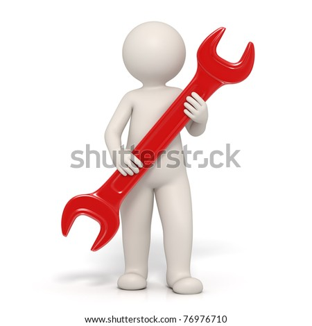 3d man holding a red spanner representing customer service - Isolated render