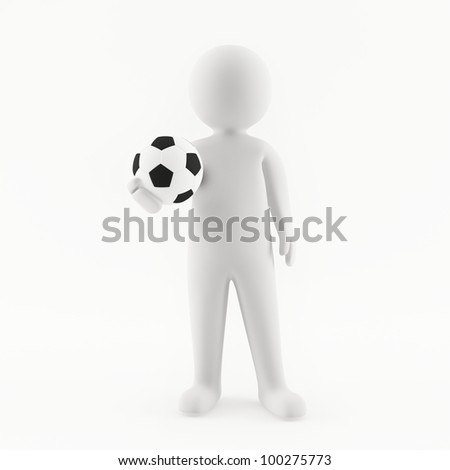 3D man holding a soccer ball in his hand