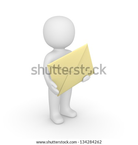 3d man holding big envelope. Computer generated image.