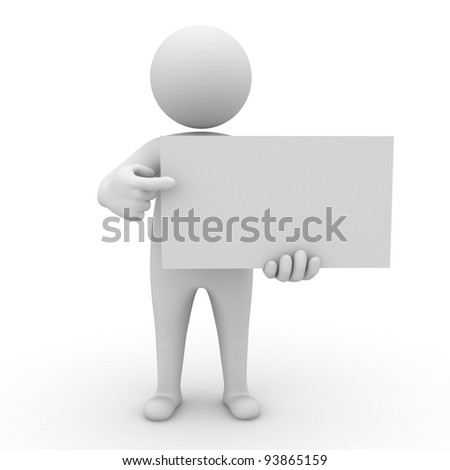 3d man holding blank board and pointing at it isolated on white background - stock photo