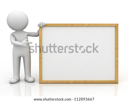 3d man holding blank board and pointing finger at it over white background with reflection
