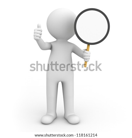 3d man holding blank circle sign and showing thumbs up over white background