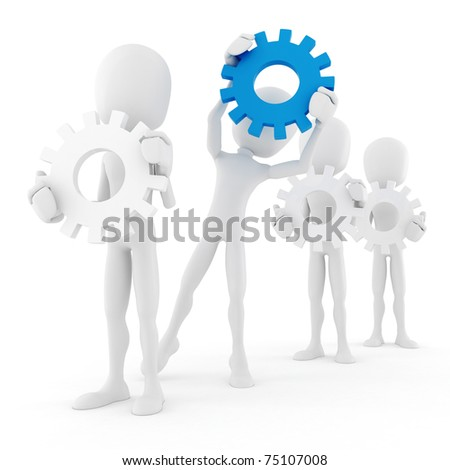 3d man holding colorful gear wheels