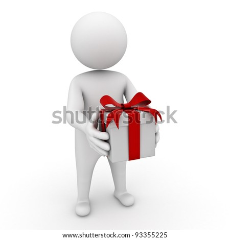 3d man holding gift box on white background