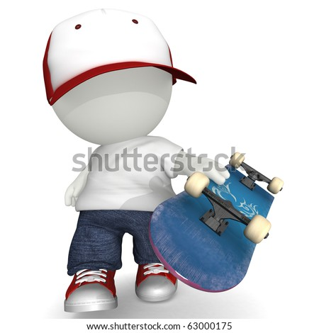 3D man holding skate board - isolated over a white background