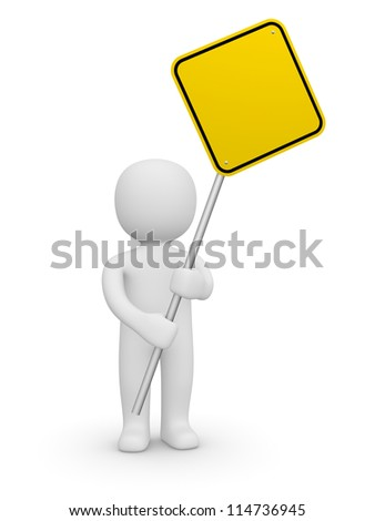 3d man holding the empty road sign. 3d rendering.