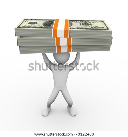 3d man holding thousand dollar pack