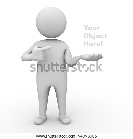 3d man holding your product and pointing finger at it on white background