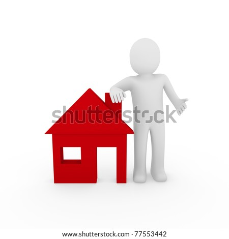 3d man house red home energie save estate