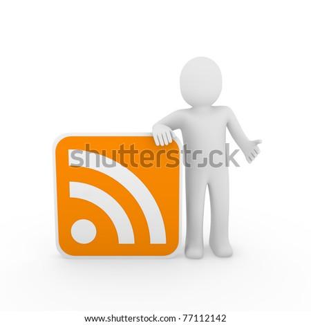 3d man human rss orange internet nezwork web