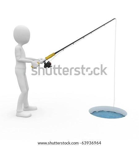 3d man ice fishing  isolated on white