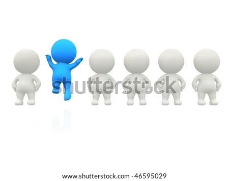 3D man in line standing out - isolated over a white background