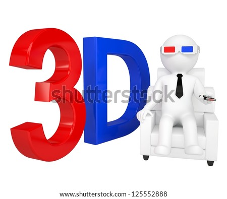 3d man in stereo glasses on a chair. Isolated render on a white background