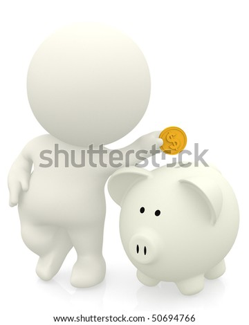 3D man inserting coin in piggybank isolated over white