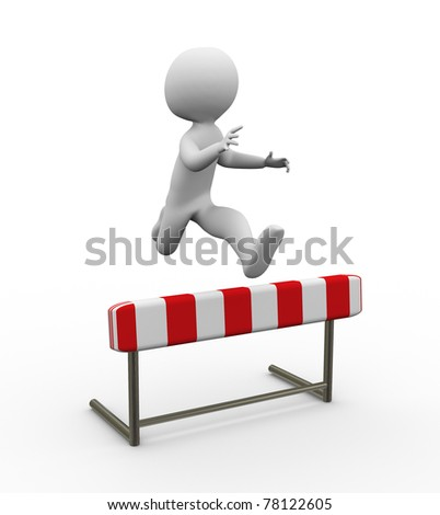 3d man jumping over the hurdle