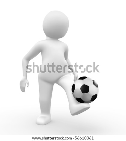 3d man kicking a football - stock photo