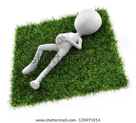 3d man laying down on grass