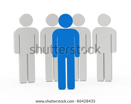 3d man leadership blue stand in series