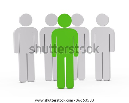 3d man leadership green stand in series