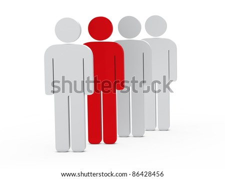 3d man leadership red stand in series