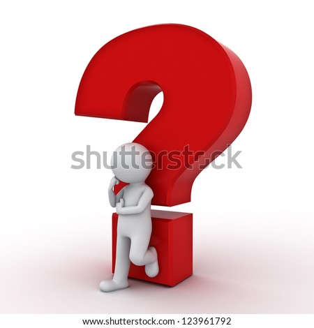 3d man leaning against red question mark and thinking over white background