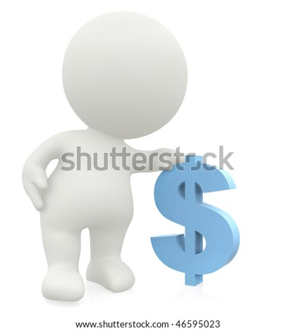 3D man leaning on a dollar sign isolated over a white background