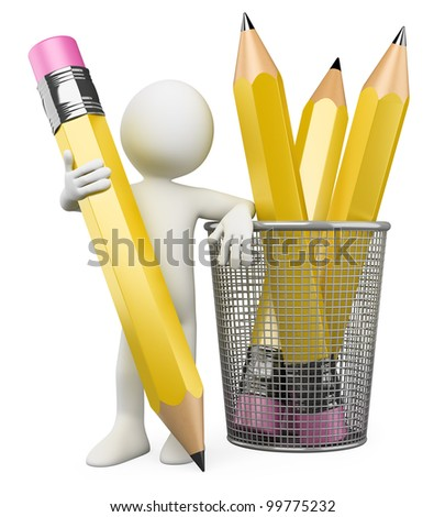 3D Man leaning on pencil holder. Rendered at high resolution on a white background with diffuse shadows.