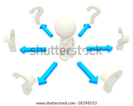 3D man looking at question marks to make a decision isolated over white
