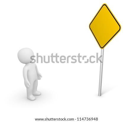 3d man looking at the empty road sign. 3d rendering.