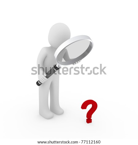3d man magnifying glass question mark red search