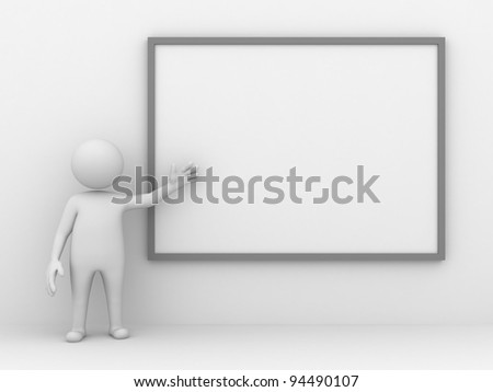 3d man making a presentation with blank board